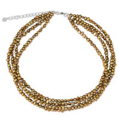 Thai Four-Strand Cultured Pearl Necklace in Golden Brown
