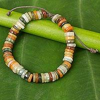 Jade bracelet, 'All Seasons' - Multicolor Jade Beaded Bracelet Handmade in Thailand