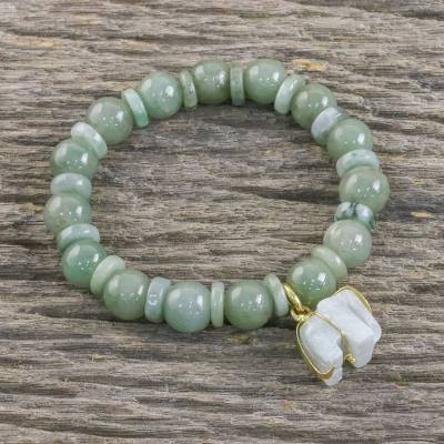 Jade beaded stretch bracelet, Jade Elephant