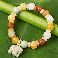 Jade beaded stretch bracelet, 'Elephant Season' - Jade Beaded Bracelet Handmade in Thailand with Elephant