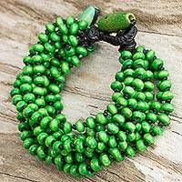 Wood beaded bracelet, 'Green Envy' - Wood Beaded Bracelet in Green and Black Handmade in Thailand