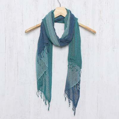 Silk scarf, 'Elusive Summer' - Hand Woven Silk Scarf in Teal Celadon Azure from Thailand