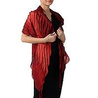 Rayon blend scarf, 'Evolving Lipstick' - Rayon and Silk Blend Scarf in Claret Red from Thailand