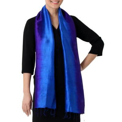 Silk scarf, 'Spring Shimmer' - Hand Woven Silk Scarf in Purple and Blue from Thailand