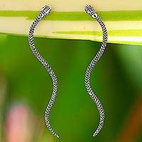 Sterling silver drop earrings, 'Winding Snakes'