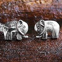 Sterling silver stud earrings, 'Little Elephants' - Sterling Silver Stud Earrings Elephant Shape from Thailand