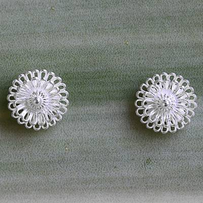 Sterling silver stud earrings, 'Zinnia Flowers' - Hand Made Sterling Silver Stud Earrings Floral Thailand