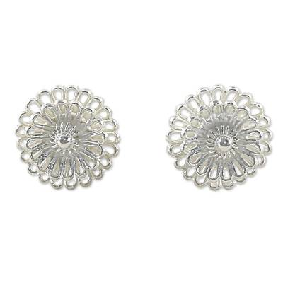 Hand Made Sterling Silver Stud Earrings Floral Thailand