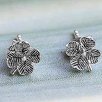 Sterling silver stud earrings, 'Little Clovers' - Sterling Silver Stud Earrings Flower Shape from Thailand