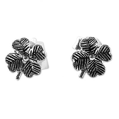 Sterling Silver Stud Earrings Flower Shape from Thailand