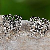 Sterling silver filigree stud earrings, 'Little Butterflies' - Sterling Silver Stud Earrings Butterfly Shape from Thailand