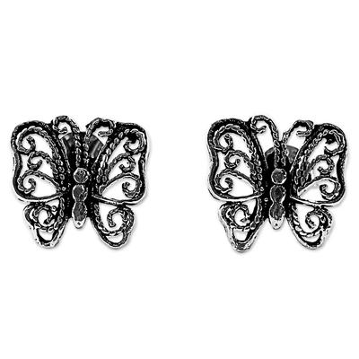Sterling Silver Stud Earrings Butterfly Shape from Thailand
