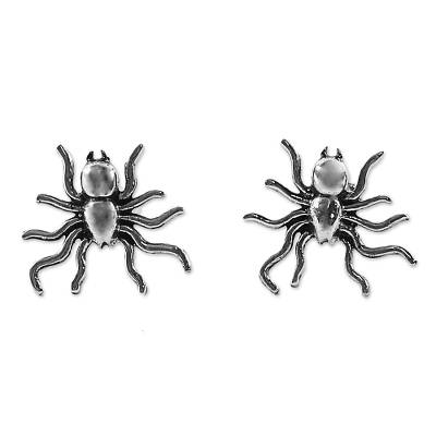 Sterling Silver Stud Earrings Spider Shape from Thailand