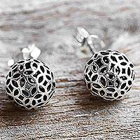 Sterling silver stud earrings, 'Bursting Stars' - Hand Made Sterling Silver Stud Earrings Round from Thailand