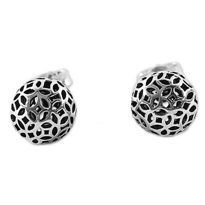 Hand Made Sterling Silver Stud Earrings Round from Thailand