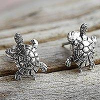 Sterling silver button earrings, 'Little Turtles' - Sterling Silver Button Earrings Turtle Shape from Thailand