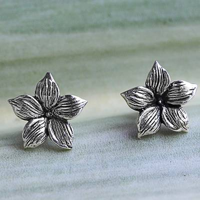 Sterling silver stud earrings, 'Jasmine Blossoms' - Sterling Silver Stud Earrings Floral Shape from Thailand