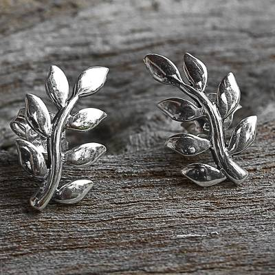 Sterling silver button earrings, 'Peaceful Leaves' - Sterling Silver Leaf Button Earrings from Thailand