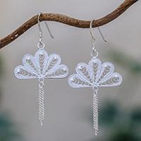 Sterling Silver Filigree Dangle Earrings Peacock Fans (thailand)