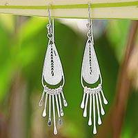 Sterling silver filigree chandelier earrings, 'Piano Drops' - Sterling Silver Drop Filigree Chandelier Earrings Thailand