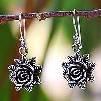 Sterling silver dangle earrings, 'Tiny Roses' - Sterling Silver Dangle Earrings Flower Shape from Thailand
