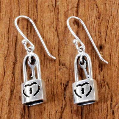 Sterling silver dangle earrings, 'Under Lock and Key' - Sterling Silver Heart Lock Dangle Earrings from Thailand