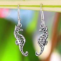 Sterling silver dangle earrings, 'Seahorse Couple' - Sterling Silver Dangle Earrings Seahorse Shape from Thailand