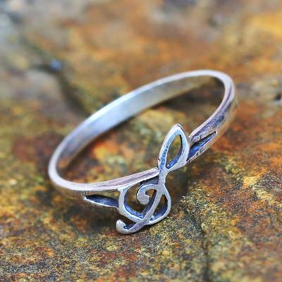 high quality sterling silver necklace - Sterling Silver Band Ring Musical from Thailand