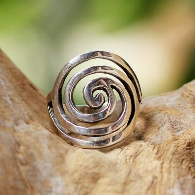 unique ring bearer pillow ideas - Sterling Silver Swirls Cocktail Ring from Thailand