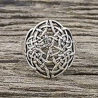 Sterling silver cocktail ring, 'Elegant Knot' - Sterling Silver Openwork Cocktail Ring from Thailand