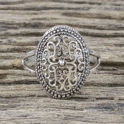 heart ring band - Sterling Silver Vine Motif Cocktail Ring from Thailand