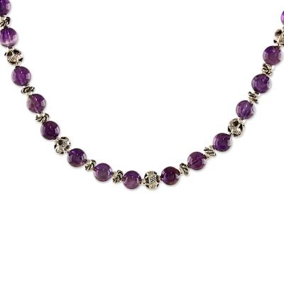 Amethyst and 950 Silver Beaded Necklace from Thailand