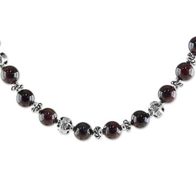 Garnet and 950 Silver Beaded Necklace from Thailand
