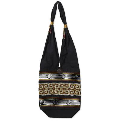 100% Cotton Shoulder Bag Black and Brick from Thailand