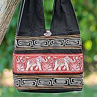 Cotton blend shoulder bag, 'Thai Elephants in Vermilion' - Cotton Blend Shoulder Bag Black Vermilion from Thailand