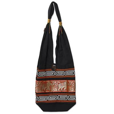 Cotton Blend Shoulder Bag Black Vermilion from Thailand