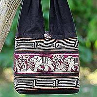 Cotton blend shoulder bag, 'Thai Elephants in Burgundy' - Cotton Blend Shoulder Bag Black Burgundy Elephants Thailand