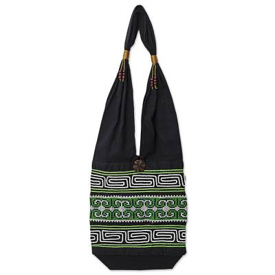 100% Cotton Green Black Embroidered Shoulder Bag Thailand