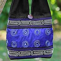 Cotton and silk blend shoulder tote bag, 'Summer Indigo' - Cotton Silk Blend Shoulder Bag Indigo Black Thailand