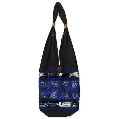 Cotton Silk Blend Shoulder Bag Indigo Black Thailand