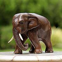 Wood sculpture, 'Relaxed Little Elephant' - Hand Made Wood Elephant Sculpture from Thailand