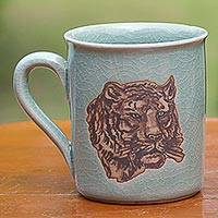 Celadon ceramic mug, 'Tiger's Taste' - Hand Painted Celadon Ceramic Tiger Mug from Thailand