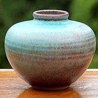 Ceramic bud vase, 'Seaward Sand' - Round Hand Crafted Watertight Ceramic Bud Vase from Thailand