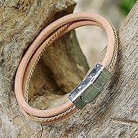 Leather wristband bracelet, 'Striking Modernity in Tan' - Modern Leather Wristband Bracelet in Tan from Thailand