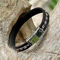 Leather wristband bracelet, 'The Road Ahead' - Leather Wristband Bracelet in Black and Tan from Thailand