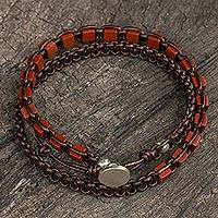 Jasper and leather wrap bracelet, 'Charming Stones' - Handmade Red Jasper and Leather Wrap Bracelet from Thailand