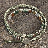 Jasper and leather wrap bracelet, 'Stone Charmer' - Handmade Jasper and Leather Wrap Bracelet from Thailand