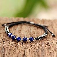 Lapis lazuli beaded bracelet, 'Blissful Breeze' - Lapis Lazuli and Sterling Silver Beaded Bracelet with Leaf