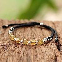 Silver and citrine beaded bracelet, 'Citrine Dream' - Thai Sterling Silver and Citrine Beaded Cord Bracelet
