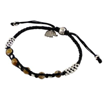 Thai Silver and Agate Beaded Cord Bracelet with Elephant